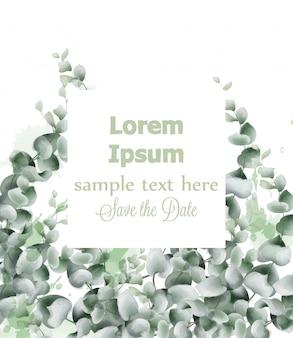Aquarela de cartão de folhas verdes