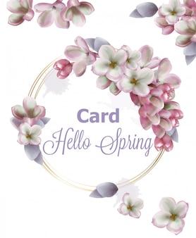 Aquarela de cartão de grinalda de flores lilás