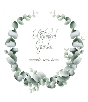 Aquarela de cartão de grinalda de folhas verdes