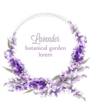 Aquarela de cartão de grinalda de lavanda. saudação de decoração de flores. buquês de estilo vintage e decoração redonda