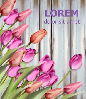 Aquarela de cartão de tulipas