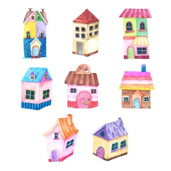 Aquarela de casa dos desenhos animados mão desenhada pintada