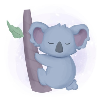 Aquarela de coala animal adorável adorável