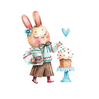 Aquarela de coelho fofo da páscoa com bolos