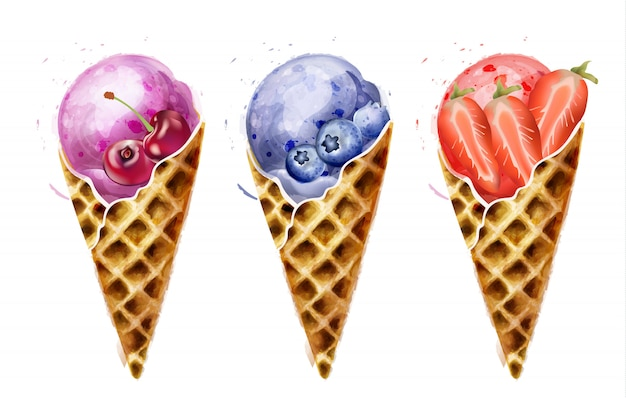 Aquarela de cones de sorvete
