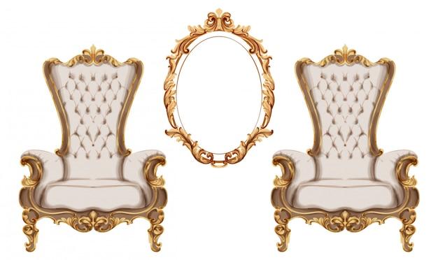 Aquarela de conjunto barroco mobiliário