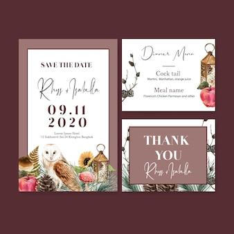 Aquarela de convite de casamento com girassol e corujas