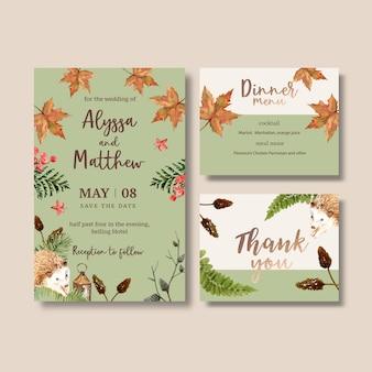 Aquarela de convite de casamento com outono pastel