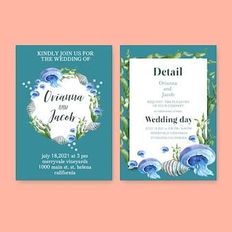 Aquarela de convite de casamento com tema de vida marinha, ilustração de fundo azul pastel
