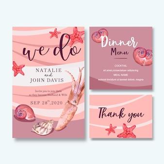 Aquarela de convite de casamento com tema de vida marinha, ilustração de fundo rosa pastel