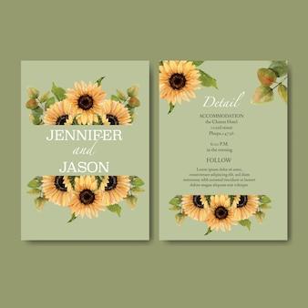 Aquarela de convite de casamento com tema girassol