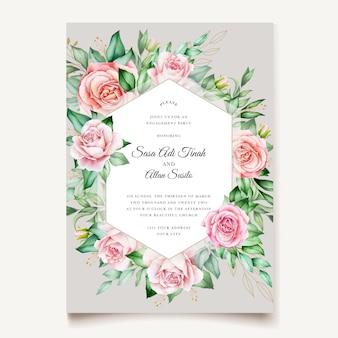 Aquarela de convite de casamento floral e folhas modelo de cartão