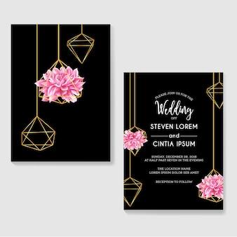 Aquarela de dália de convites de casamento e ouro geométrico