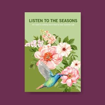 Aquarela de design de modelo de cartaz de flor de verão