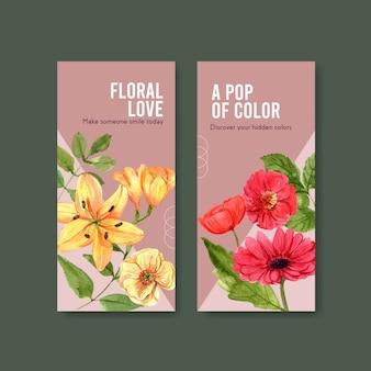 Aquarela de design de modelo de panfleto de flor de verão
