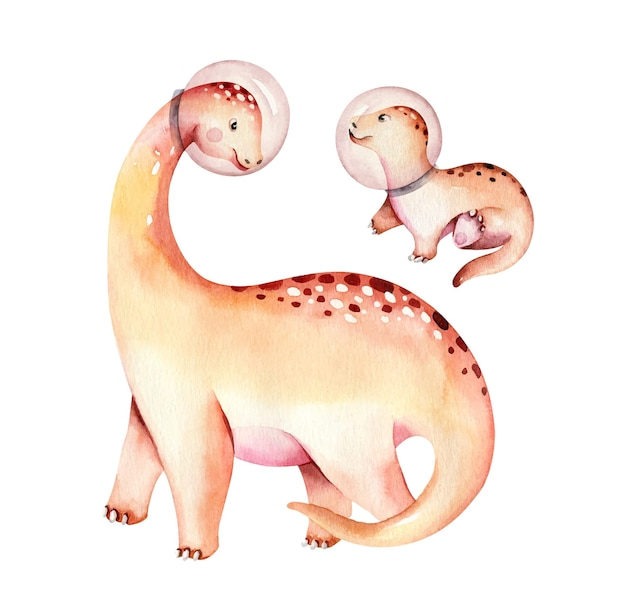 Aquarela de dinossauro isolado em um fundo branco ilustração desenhada à mão cartoon baby showe