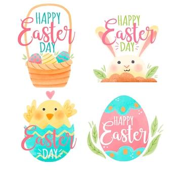 Aquarela de distintivo de dia de páscoa com coelho e frango
