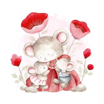 Aquarela de dois ratinhos com a mãe