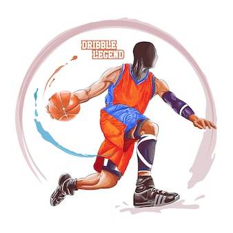 Aquarela de drible de basquete