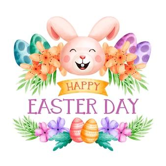 Aquarela de férias da páscoa e coelho sorridente