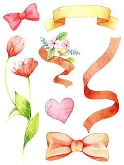 Aquarela de fita, flor e coração