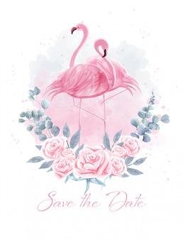 Aquarela de flamingos casal entre rosas.