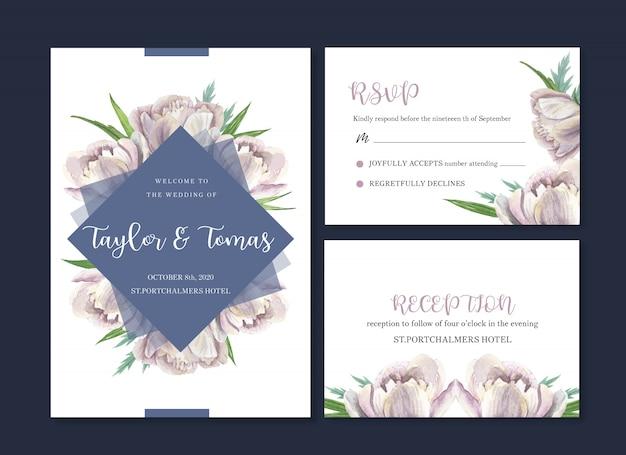 Aquarela de flor de cartão de casamento, cartão de agradecimento, convite de casamento