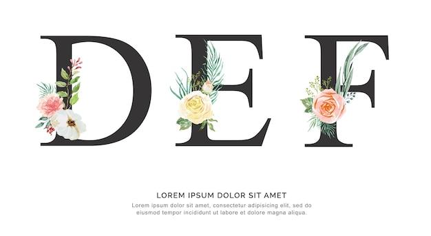Aquarela de flor do alfabeto def.
