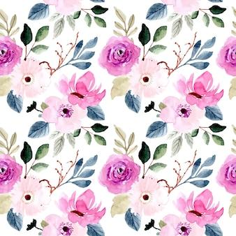 Aquarela de flor rosa bonita sem costura padrão