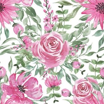 Aquarela de flor rosa sem costura padrão