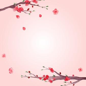 Aquarela de flores da primavera