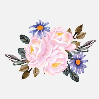 Aquarela de flores de buquê de peônias