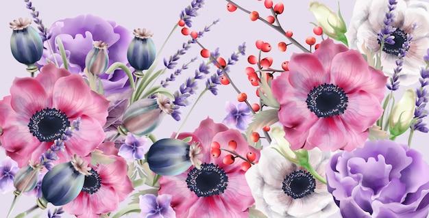 Aquarela de flores de outono