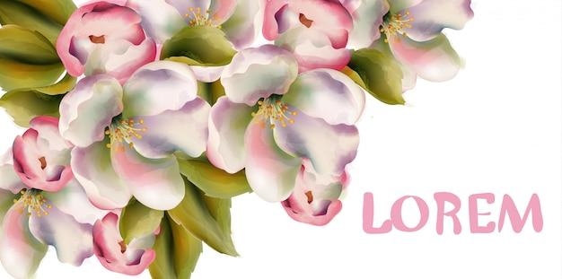 Aquarela de flores de primavera