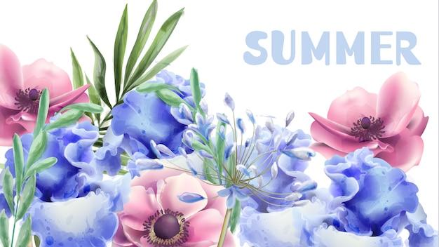 Aquarela de flores de verão