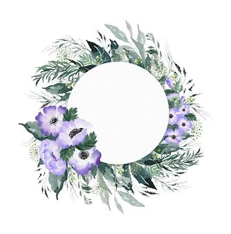 Aquarela de flores roxas e ilustração de coroa de folhas verdes