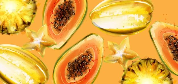Aquarela de frutos de mamão