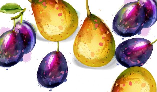 Aquarela de frutos de pêra e ameixas