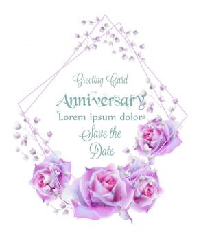 Aquarela de fundo de cartão de quadro de flores rosa