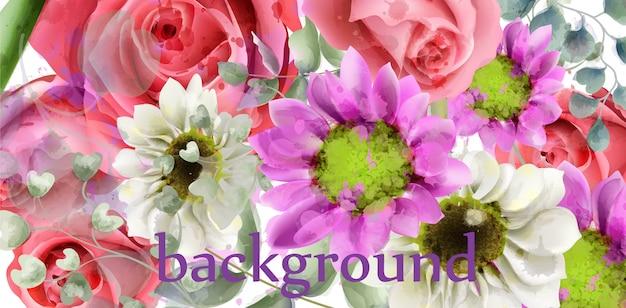 Aquarela de fundo de flores de primavera