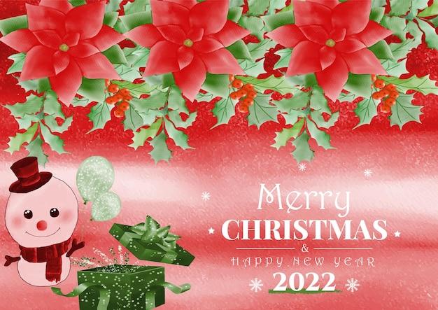 Aquarela de fundo de tema de natal e feliz ano novo com boneco de neve e caixa de presente