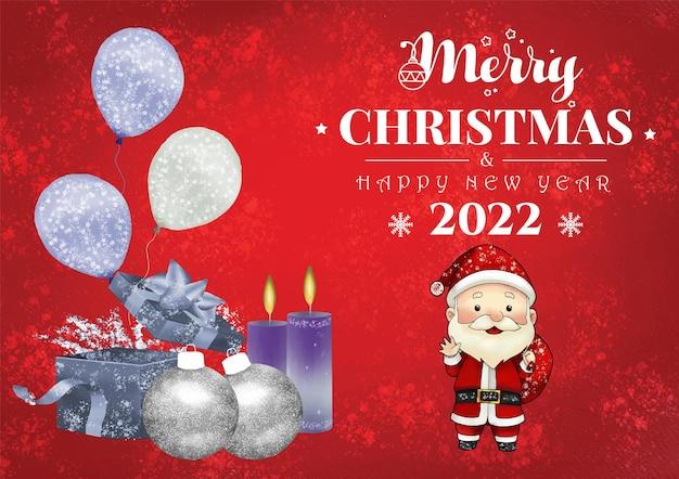 Aquarela de fundo de tema de natal e feliz ano novo com papai noel e enfeites