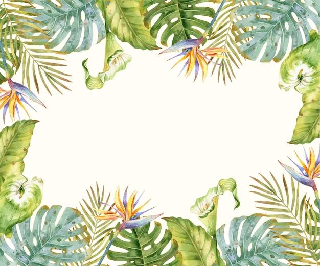 Aquarela de fundo tropical com flores e folhas exóticas