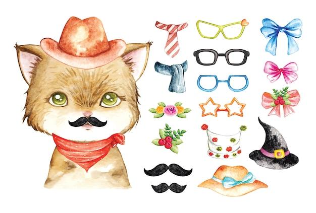 Aquarela de gato fofo
