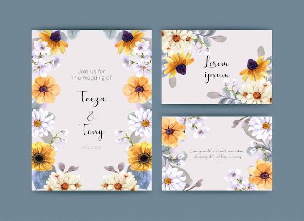 Aquarela de girassol de cartão de casamento.