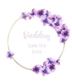 Aquarela de grinalda de flores alvas. decorações de casamento floral