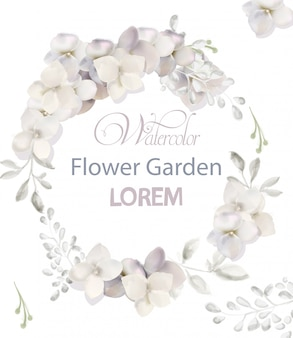 Aquarela de grinalda de flores brancas