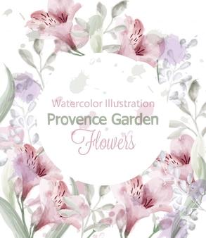 Aquarela de grinalda de flores de provence