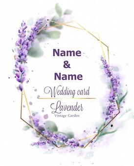Aquarela de grinalda de lavanda de cartão de casamento