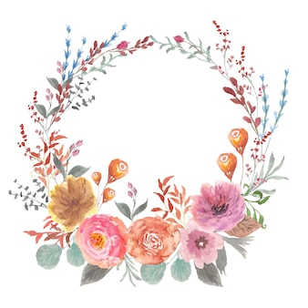 Aquarela de grinalda floral linda